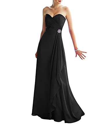 ThaliaDress Womens Long Sweetheart Bridesmaid Dress Prom Gown T293LF Black US2