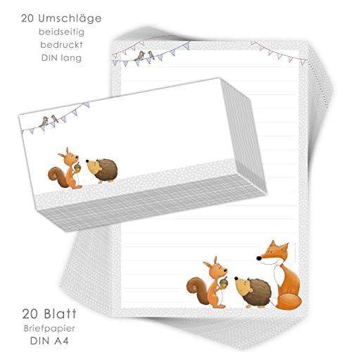 Lot de 50 feuilles de papier /à lettre pour gar/çons et filles Lot de 5 bo/îtes de 10 feuilles A4 pour enfants avec lignes