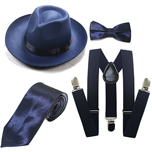 Men's Roaring 1920s Set Manhattan Fedora Hat,Y-Back Suspenders & Pre Tied Bow Tie, Gangster Tie & Fake Mustache (OneSize, Z-Blue)