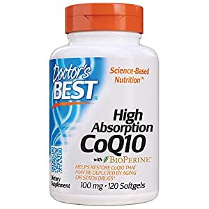 Doctors Best High Absorption CoQ10 with BioPerine, Gluten Free, Naturally Fermented, Heart Health, Energy Production,100 mg 120 Softgels