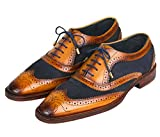 Lethato Wingtip Brogue Oxford - Navy Blue , Navy Blue , 9.5 - 10 US