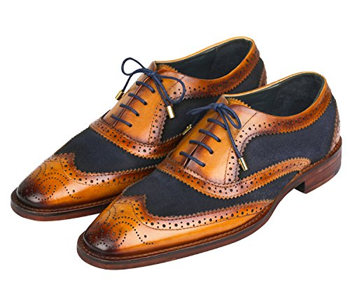 Lethato Wingtip Brogue Oxford Handcrafted Mens Genuine Leather Lace up Dress Shoes