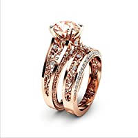 Rose Gold Round Cut Topaz CZ Birthstone Wedding Bridal Flower Ring Set (9)