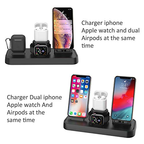 Charging Wireless Dock Compatible Apple watch//Airpods//iPhone7//7p//6//6Plus Two Phone Stand Holder Aluminum Charger Station Compatible iPhone X//XS//XS Max//8//8Plus//Samsung Galaxy S9//S9Plus