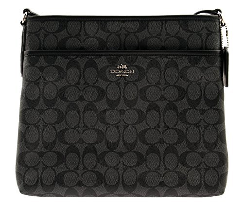 COACH Signature Coated Canvas File Bag Crossbody, F58297 (Black / Smoke) Coach Makeup Pouch