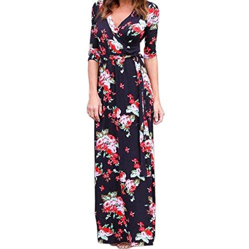 Long Cuello Floral De Boho noche L de Negro Dress Vestido Xinan Vestido Beach Maxi Mujer Sundress V Verano wI6YAx