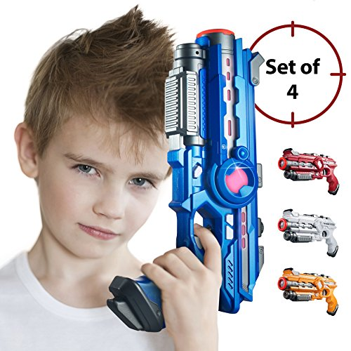 Laser Tag Guns Set – 4 Pack Multiplayer Laser Tag Gun, No Vest Needed – Indoor & Outdoor Group Fun – Safe Infrared Lazer Toy Blasters for Kids with Vibrations, (Laser Battle Set)