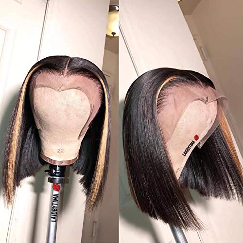 LIMEIER 27# Highlight Ombre Color Lace Front Bob Wigs Human Hair For Women With Baby Hair PrePlucked Hairline Short Straight Brazilian Hair Remi (10 inch, 130% density lace front wig)