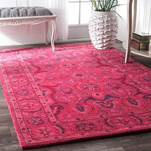 nuLOOM Leaflet Fountain Boho Wool Rug, 3 x 5 , Pink