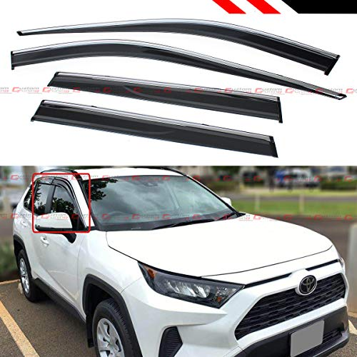 Fits for 2019-2020 Toyota Rav4 Rav 4 Premium Chrome Trim Clip-on Window Visor Rain Guard Wind Deflector
