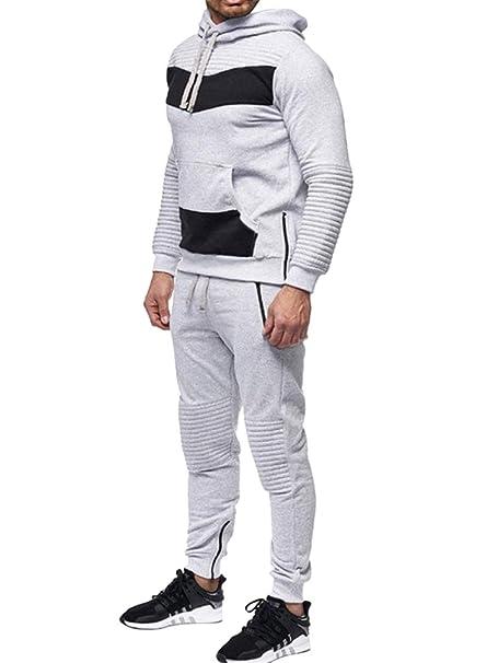Minetom Chándal para Hombre Tracksuit Entrenamiento Sudaderas con Capucha Joggers Gym Suit Top y Pantalones Fútbol Marciales Ejercicio Running Workout Gris ...