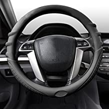 FH Group FH3003BLACK Black Steering Wheel Cover (Silicone W. Grip & Pattern Massaging grip Black Color-Fit Most Car Truck Suv or Van)