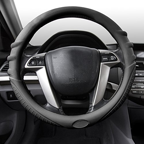 (FH Group FH3003BLACK Black Steering Wheel Cover (Silicone W. Grip & Pattern Massaging grip Black Color-Fit Most Car Truck Suv or Van))