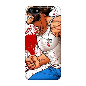SilenceBeauty Iphone 5/5s Well-designed Hard Case Cover White Tshirt Wolverine And Blood Splatters Protector