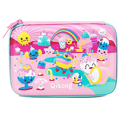 Cute Colorful Cartoons 3D Embossed Hardtop Pencil Case - Big Capacity Stationery Pouch with Double Zippers - Unique Gifts for Girls (Pink)