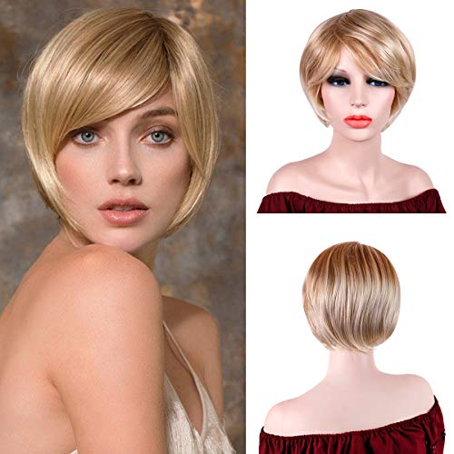Creamily Women Short Layered Wavy Wig Synthetic Pixie Cut Blonde Bob Hair with Bangs Cosplay Costume Party Full Head Replacement -