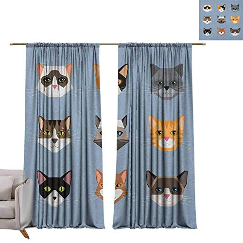 berrly Room Darkening Wide Curtains Cat,Animal Portrait Set with Cute Kittens Face Whiskers Contemporary Caricature Pattern, Multicolor W72 x L96 Thermal Insulating Blackout Curtain
