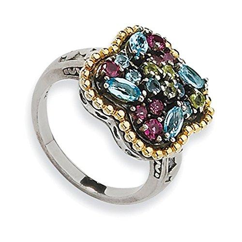 Tw Multi Gemstone Ring (Sterling Silver w/14k 1.59tw Multi Gemstone Ring Size 8)