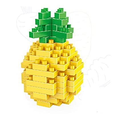 ALT 3D Fruit Series of Small Building Blocks, with Pineapple Apple Banana Pear Orange Watermelon Shapes: Toys & Games
