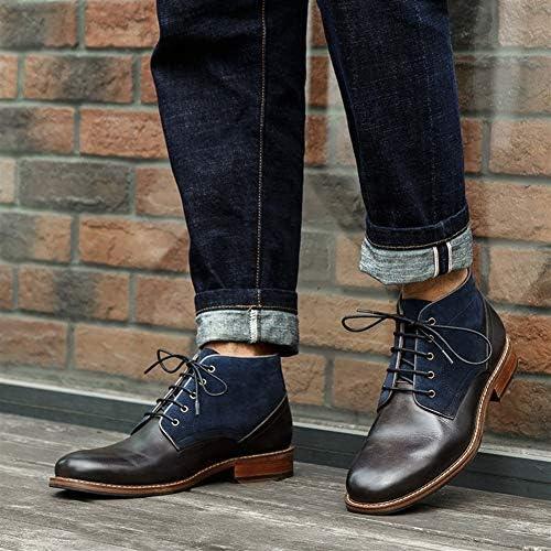 FIESSO Retro High Top di Avvio for Gli Uomini Stivali Punta Rotonda Lace Up Style Easy Care Tacco Premium Genuine Leather Style Outdoor (Color : Black Gray, Dimensione : 42 EU)