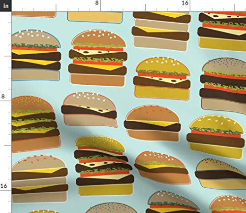 Spoonflower Burgers Fabric - Cookout Cheeseburger Hamburger Meat Cookout Food Cookout Summer Cookout Barbecue Hamburger by Katerhees Printed on Basic Cotton Ultra Fabric by The Yard