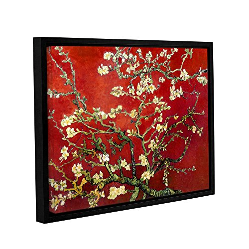 ArtWall Interpretation in Red Almond Blossom Floater Framed Gallery Wrapped Canvas Art by Vincent Van Gogh-Holds 22.5' x 30.5' Image, 24x32