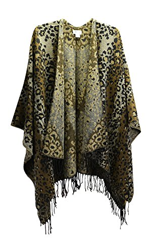 Gift Boxed Women's Ruana Wrap Fringed Shawl Open Front Poncho, Leopard