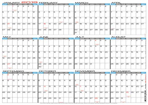"JJH Planners - Laminated - 24"" X 17"" Medium 2019 Erasable Wall Calendar - Horizontal 12 Month Yearly Annual Planner (19h-24x17)"