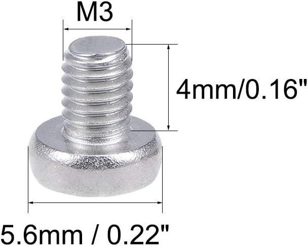 sourcing map M3x4mm Vis m/étaux cylindrique T/ête croix Vis 304 Acier Inox Boulons 100Pcs