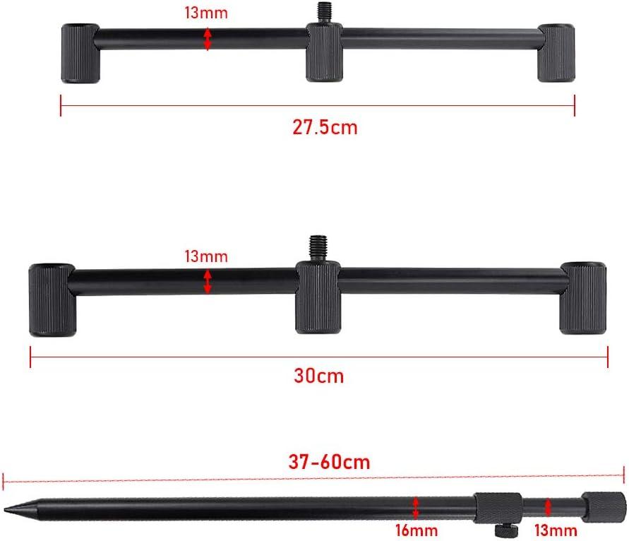 Hirisi Tackle Carp Fishing Buzz Bar for 3 Fishing Rods Aluminium Rod Rest Holder 25cm 30cm Pack of 2