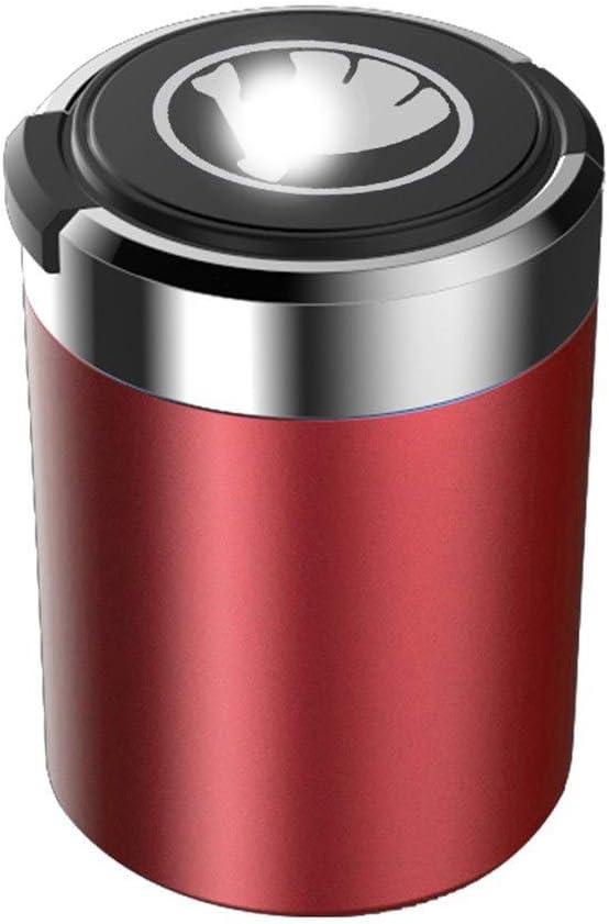 Mehrzweck-Fahrzeugaschenbecher Auto-Aschenbecher Edelstahl Kompatibel Mit Skoda Color : D Blaue LED-Anzeige Mit Deckel