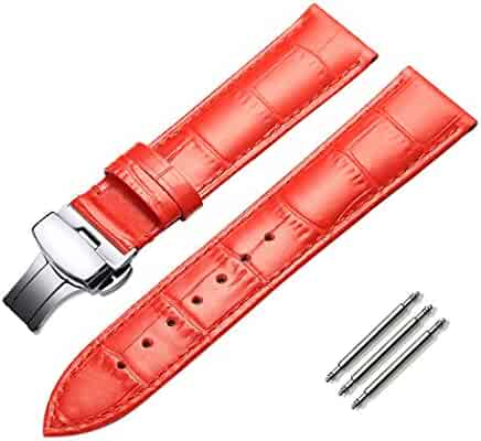 omyzam Watch Band Fashion Genuine Leather Replacement Strap Push Button Butterfly Deployant Clasp Fit for Traditional Watch, Sports Watch or Smart Watch 18mm Red