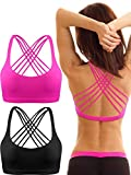 Patelai 2 Pack Womens Padded Sports Bra Cross Back Bra Workout Strappy Bra Seamless Comfortable Yoga Bra (Black and Rose Red, M)