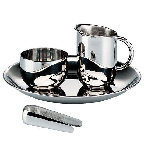 Alessi Officina Bauhaus Creamer Sugar/Tongs and Tray Set, Silver 90042