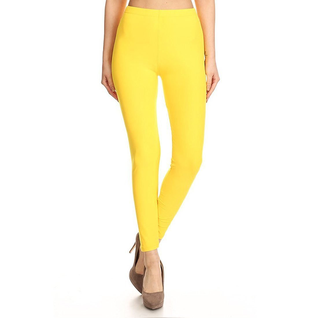 Lux Lyra Indian Ankle Length Leggings For Women's(Yellow_Free Size)