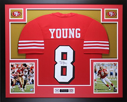 (Steve Young Autographed Red 49ers Jersey - Beautifully Matted and Framed - Hand Signed By Steve Young and Certified Authentic by JSA - Includes Certificate of Authenticity)