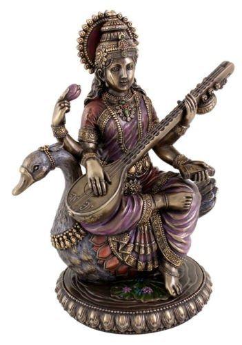 Saraswati on Swan - Hindu Goddess of Knowledge Statue Sculpture Figure CraftVatika