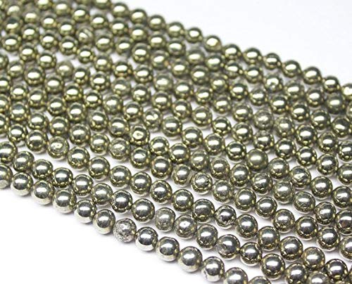 Beads Bazar Natural Beautiful jewellery Pyrite Smooth Sphere Round Ball Gemstone Craft Loose Beads Strand 8