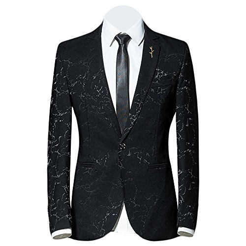 MAGE MALE Men's Stylish Blazer Floral Pattern Notched Lapel One-Button Dance Party Suit Jacket Coat