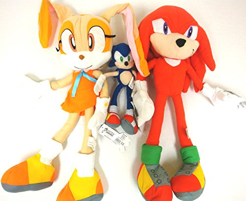 Sonic Knuckles Tails (Sega Sonic The Hedgehog X Sonic Knuckles and Cream the Rabbit 3 Plush Doll Stuffed Toy 19 inches (Sonic Plush Doll is 9 inches Only))