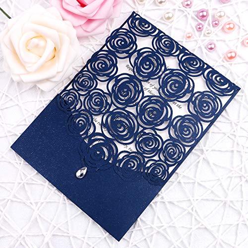 FEIYI 25PCS Laser Cut Invitations Cards Luxury Diamond Gloss Design with Pearl Paper Insert for Wedding, Bridal Shower, Engagement Birthday Graduation Invite (Navy Blue)