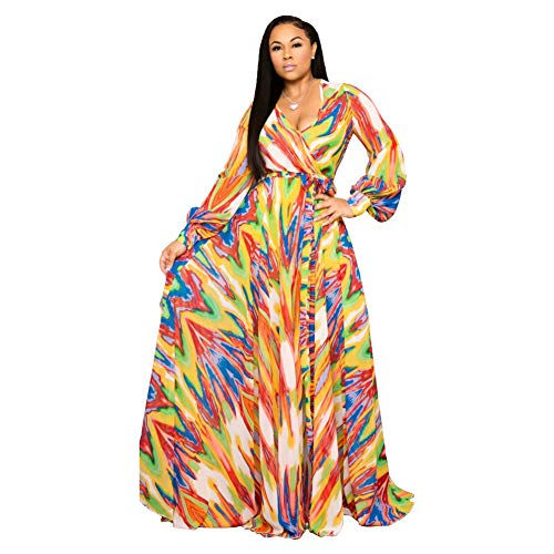 Nuofengkudu Womens Chiffon Deep V-Neck Stripe Printed Maxi Dress Unique Loose Summer Boho Dresses High Waisted S Orange