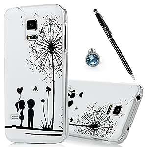 Funda rígida Transparente para Samsung Galaxy S5 mini 3 in 1 Set BADALink Samsung S5 mini Case Hard Cover Case muy fina, dibujo Dandelion antipolvo móvil y lápiz capacitivo para pantalla táctil