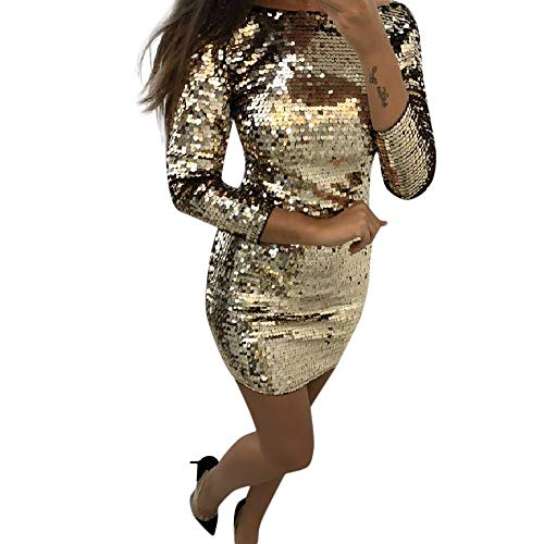 - Opeer Women Sexy Solid Sequin Stitching Long Sleeves Shining Bodycon Mini Dress Nightclub Skirt Dress (Gold, L)