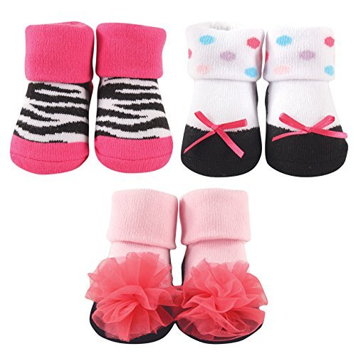 Clear Baby Pink Zebra - Luvable Friends 3-Pack Little Shoe Socks Gift Set, Zebra, 0-9 Months