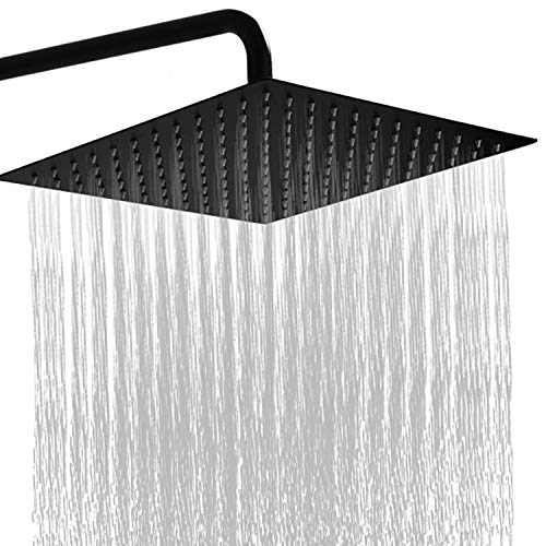 GGStudy 12 Inches Square Rain Shower head Large Stainless Steel High Pressure Shower Head,Ultra Thin Rainfall Bath Shower 1/2 Connection Oil Rubbed Bronze Black Shower Head