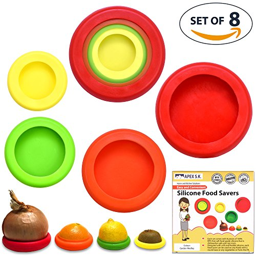 Set of 8 Silicone Food Savers Fruits and Vegetable Huggers Reusable Food Pouch Lid Storage Containers Hammock Protector for Fresh Food | Dishwasher Safe and BPA free Silicone Set in Assorted Colours - No More Plastic Wrap!