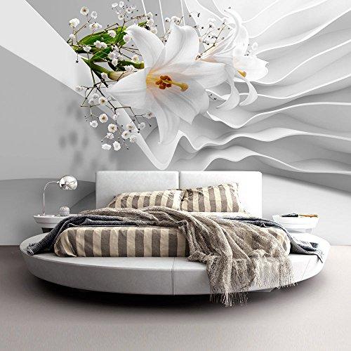 Vlies Fototapete 300x210 cm ! Top - Tapete - Wandbilder XXL - Wandbild - Bild - Fototapeten - Tapeten - Wandtapete - Wand - Blumen Abstrakt weiß Lilien b-C-0144-a-a