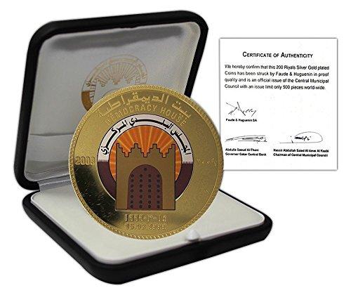 2009 QA Lunching of Democracy House Qatar 200 Riyals, Silver Gold Plated Proof Coin, 2009, Lunching of Democracy House 200 Riyals Uncirculated Qatar Mint