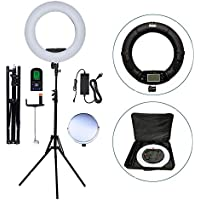 Yidoblo 18 Inch 480 LED Ring Light Kit with Makeup Mirror,Stand,Camera Phone Holder and Carrying Bag,Dimmable Bi-color Lighting for Photo Studio Video Portrait Selfie Youtube Photography